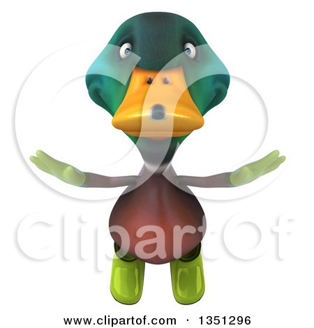 Clipart of a 3d Gardener Mallard Drake Duck Flying - Royalty Free Illustration by Julos