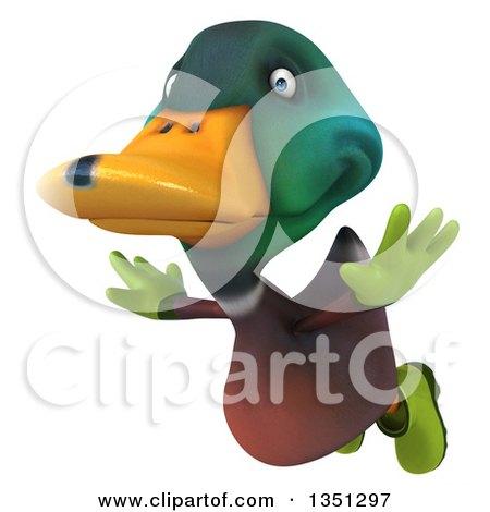 Clipart of a 3d Gardener Mallard Drake Duck Flying - Royalty Free Illustration by Julos