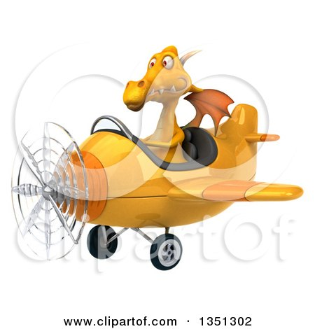 Clipart of a 3d Yellow Dragon Aviator Pilot Flying an Airplane to the Left - Royalty Free Illustration by Julos