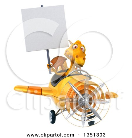 Clipart of a 3d Yellow Dragon Aviator Pilot Holding a Blank Sign and Flying an Airplane - Royalty Free Illustration by Julos