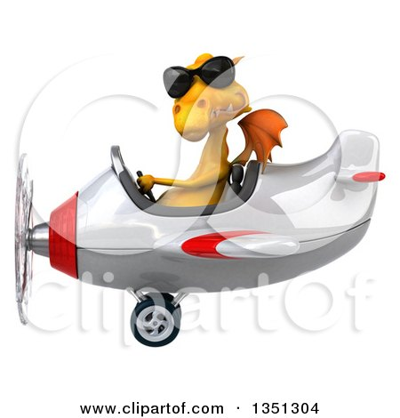 Clipart of a 3d Yellow Dragon Aviator Pilot Wearing Sunglasses and Flying a White and Red Airplane to the Left - Royalty Free Illustration by Julos