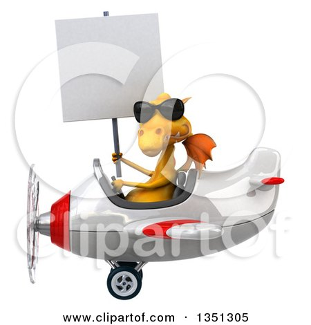 Clipart of a 3d Yellow Dragon Aviator Pilot Wearing Sunglasses, Holding a Blank Sign and Flying a White and Red Airplane to the Left - Royalty Free Illustration by Julos