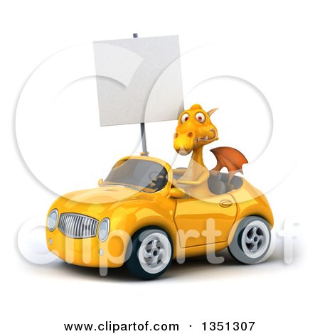 Clipart of a 3d Yellow Dragon Holding a Blank Sign and Driving a Convertible Car to the Left - Royalty Free Illustration by Julos