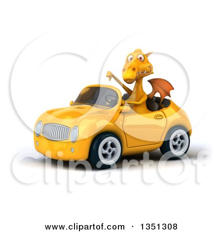 Clipart of a 3d Yellow Dragon Giving a Thumb down and Driving a Convertible Car to the Left - Royalty Free Illustration by Julos