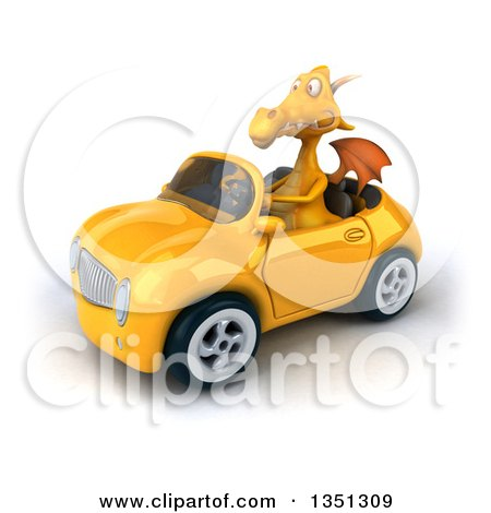 Clipart of a 3d Yellow Dragon Driving a Convertible Car to the Left - Royalty Free Illustration by Julos