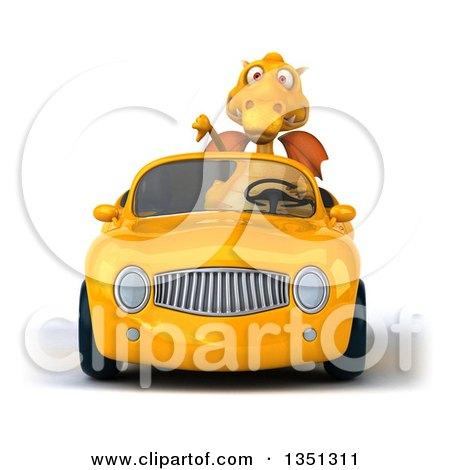 Clipart of a 3d Yellow Dragon Giving a Thumb down and Driving a Convertible Car - Royalty Free Illustration by Julos