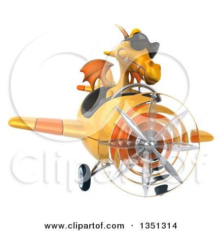 Clipart of a 3d Yellow Dragon Aviator Pilot Wearing Sunglasses and Flying an Airplane - Royalty Free Illustration by Julos