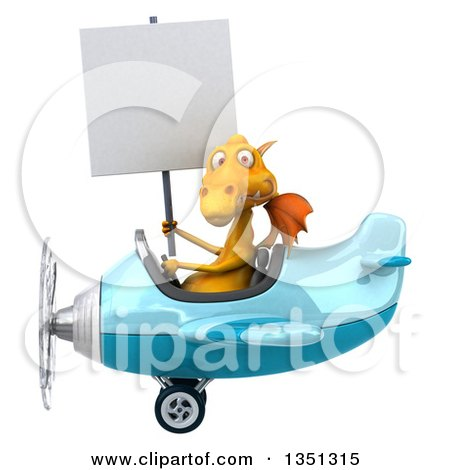 Clipart of a 3d Yellow Dragon Aviator Pilot Holding a Blank Sign and Flying a Blue Airplane to the Left - Royalty Free Illustration by Julos