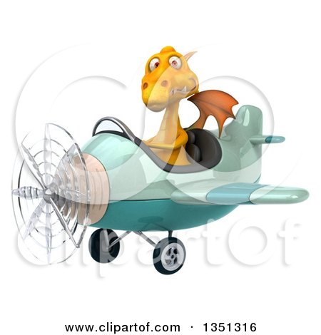 Clipart of a 3d Yellow Dragon Aviator Pilot Flying a Green Airplane to the Left - Royalty Free Illustration by Julos