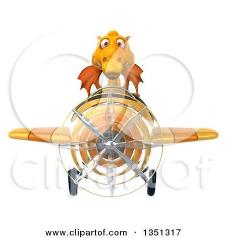 Clipart of a 3d Yellow Dragon Aviator Pilot Flying an Airplane - Royalty Free Illustration by Julos