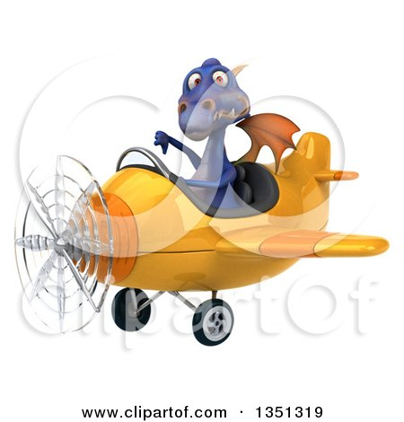 Clipart of a 3d Purple Dragon Aviator Pilot Giving a Thumb down and Flying a Yellow Airplane to the Left - Royalty Free Illustration by Julos