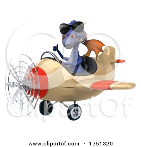 Clipart of a 3d Purple Dragon Aviator Pilot Wearing Sunglasses, Giving a Thumb up and Flying an Airplane to the Left - Royalty Free Illustration by Julos