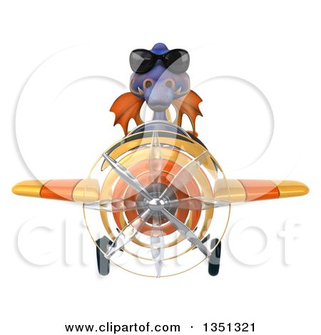 Clipart of a 3d Purple Dragon Aviator Pilot Wearing Sunglasses and Flying a Yellow Airplane - Royalty Free Illustration by Julos