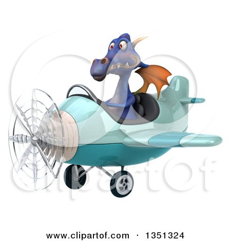 Clipart of a 3d Purple Dragon Aviator Pilot Flying a Blue Airplane to the Left - Royalty Free Illustration by Julos
