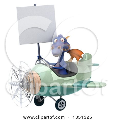 Clipart of a 3d Purple Dragon Aviator Pilot Holding a Blank Sign and Flying a Green Airplane to the Left - Royalty Free Illustration by Julos