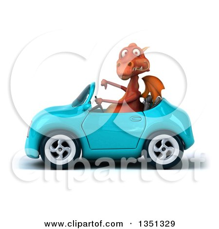 Clipart of a 3d Red Dragon Giving a Thumb down and Driving a Blue Convertible Car to the Left - Royalty Free Illustration by Julos