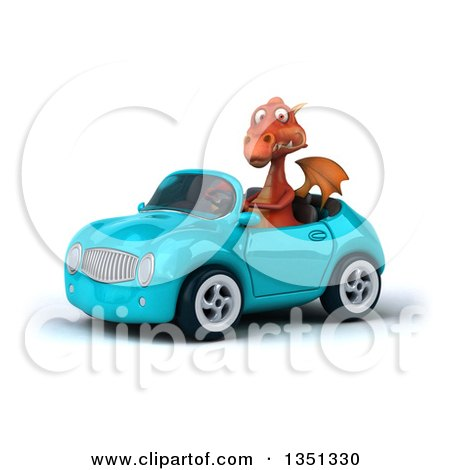 Clipart of a 3d Red Dragon Driving a Blue Convertible Car to the Left - Royalty Free Illustration by Julos