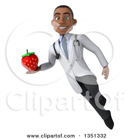 Clipart of a 3d Young Black Male Nutritionist Doctor Holding a Strawberry and Flying - Royalty Free Illustration by Julos