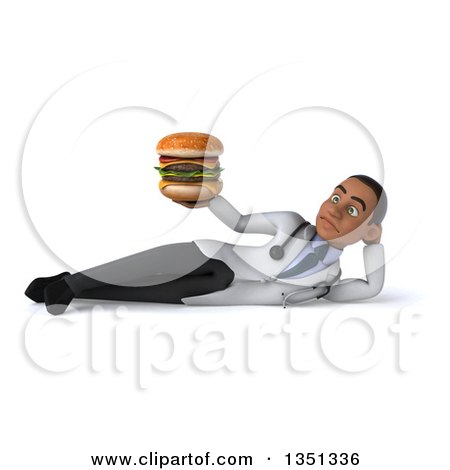 Clipart of a 3d Young Black Male Nutritionist Doctor Holding a Double Cheeseburger and Resting on His Side - Royalty Free Illustration by Julos