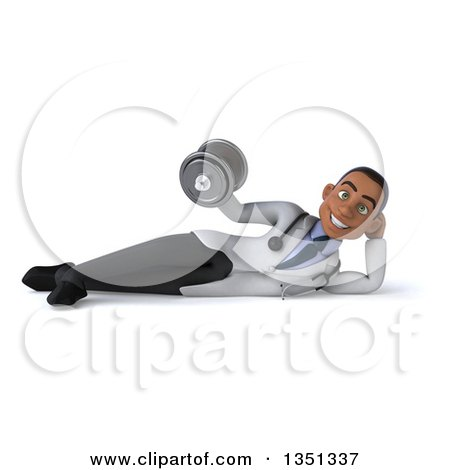 Clipart of a 3d Young Black Male Physical Therapist Doctor Resting on His Side and Doing Bicep Curls with a Dumbbell - Royalty Free Illustration by Julos