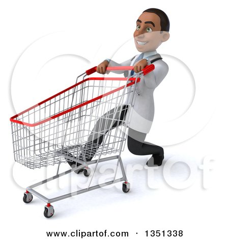 Clipart of a 3d Young Black Male Doctor Speed Walking and Pushing a Shopping Cart - Royalty Free Illustration by Julos