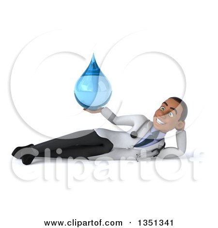 Clipart of a 3d Young Black Male Doctor Holding a Water Drop and Resting on His Side - Royalty Free Illustration by Julos