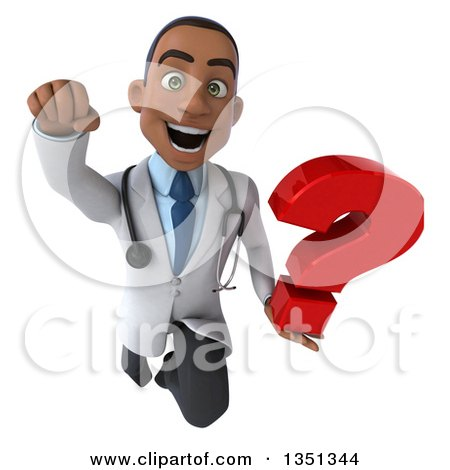 Clipart of a 3d Young Black Male Doctor Holding a Question Mark and Flying - Royalty Free Illustration by Julos