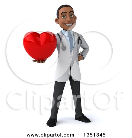 Clipart of a 3d Young Black Male Doctor Holding a Love Heart - Royalty Free Illustration by Julos