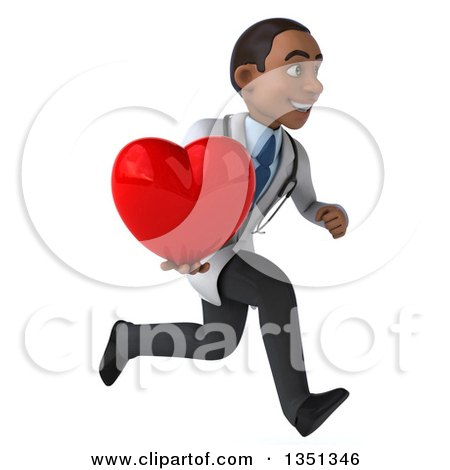 Clipart of a 3d Young Black Male Doctor Holding a Love Heart and Sprinting to the Right - Royalty Free Illustration by Julos
