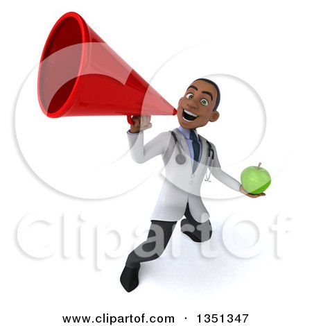 Clipart of a 3d Young Black Male Nutritionist Doctor Holding a Green Apple and Using a Bullhorn - Royalty Free Illustration by Julos