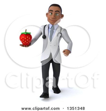 Clipart of a 3d Young Black Male Nutritionist Doctor Holding a Strawberry and Walking - Royalty Free Illustration by Julos