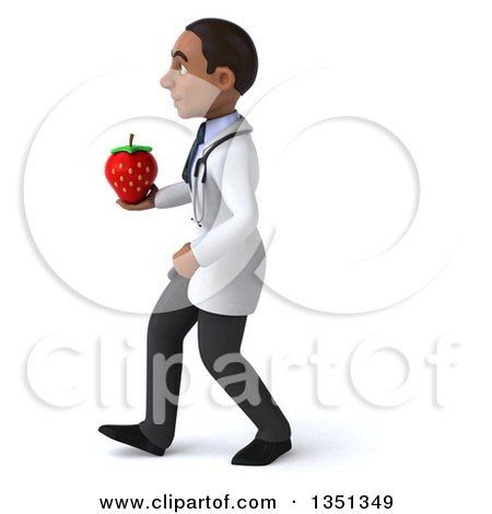 Clipart of a 3d Young Black Male Nutritionist Doctor Holding a Strawberry and Walking to the Left - Royalty Free Illustration by Julos