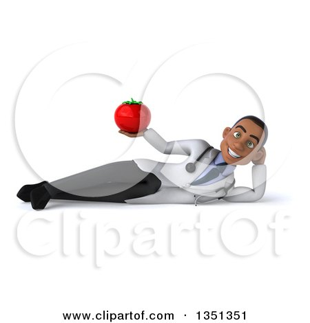 Clipart of a 3d Young Black Male Nutritionist Doctor Holding a Tomato and Resting on His Side - Royalty Free Illustration by Julos