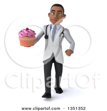 Clipart of a 3d Young Black Male Nutritionist Doctor Holding a Cupcake and Walking - Royalty Free Illustration by Julos