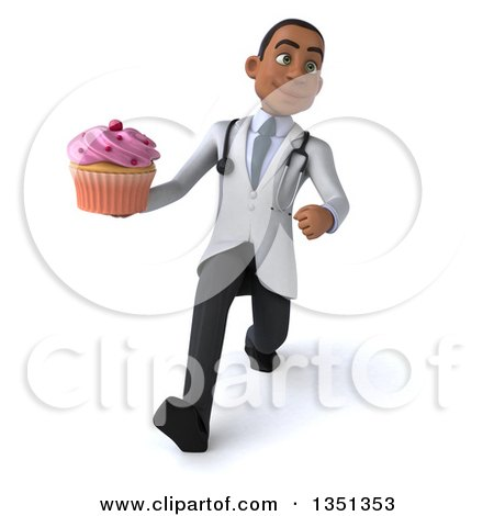 Clipart of a 3d Young Black Male Nutritionist Doctor Holding a Cupcake and Speed Walking - Royalty Free Illustration by Julos