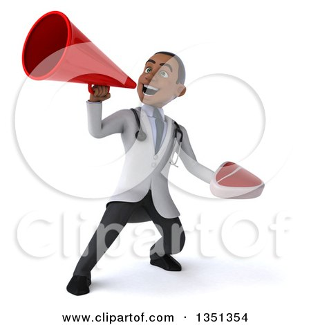 Clipart of a 3d Young Black Male Nutritionist Doctor Holding a Beef Steak and Using a Megaphone - Royalty Free Illustration by Julos