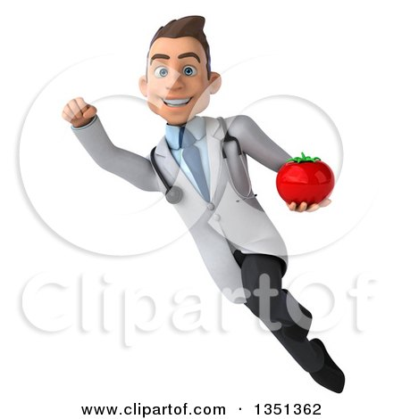 Clipart of a 3d Young Brunette White Male Nutritionist Doctor Holding a Tomato and Flying - Royalty Free Illustration by Julos