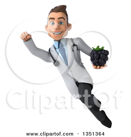 Clipart of a 3d Young Brunette White Male Nutritionist Doctor Holding a Blackberry and Flying - Royalty Free Illustration by Julos