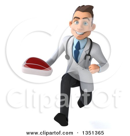 Clipart of a 3d Young Brunette White Male Nutritionist Doctor Holding a Beef Steak and Sprinting - Royalty Free Illustration by Julos