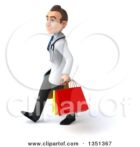 Clipart of a 3d Young Brunette White Male Doctor Carrying Shopping Bags and Walking to the Left - Royalty Free Illustration by Julos