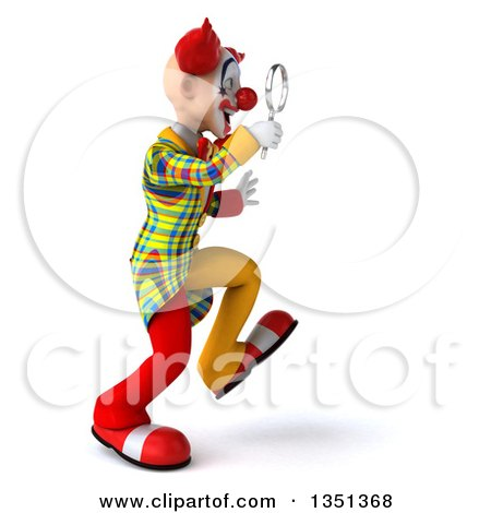 Clipart of a 3d Funky Clown Walking to the Right and Searching with a Magnifying Glass - Royalty Free Illustration by Julos
