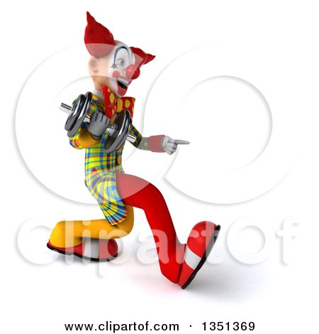 Clipart of a 3d Funky Clown Speed Walking and Pointing to the Right with a Dumbbell - Royalty Free Illustration by Julos