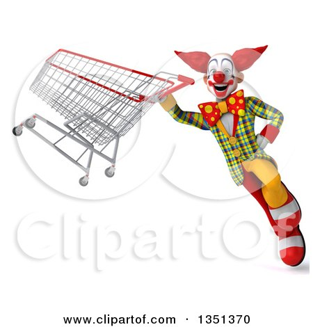 Clipart of a 3d Funky Clown Flying with a Shopping Cart - Royalty Free Illustration by Julos