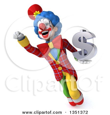 Clipart of a 3d Colorful Clown Holding a Dollar Currency Symbol and Flying - Royalty Free Illustration by Julos