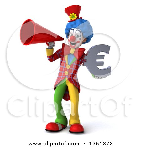 Clipart of a 3d Colorful Clown Holding a Euro Currency Symbol and Using a Megaphone - Royalty Free Illustration by Julos