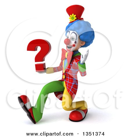 Clipart of a 3d Colorful Clown Holding a Question Mark, Speed Walking and Waving to the Left - Royalty Free Illustration by Julos