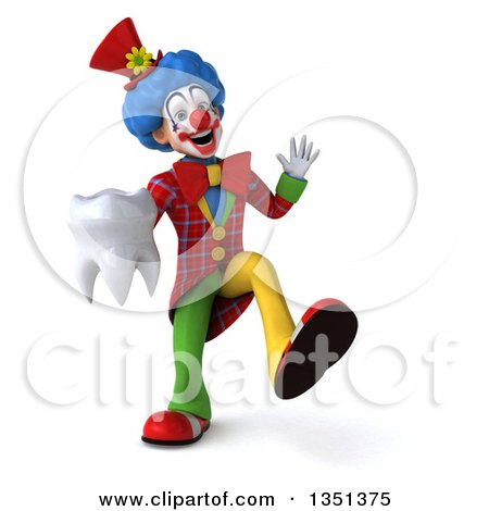 Clipart of a 3d Colorful Clown Dancing and Holding a Tooth - Royalty Free Illustration by Julos