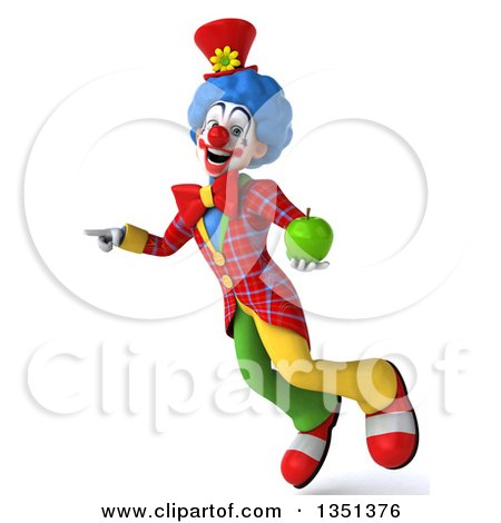 Clipart of a 3d Colorful Clown Holding a Green Apple, Flying and Pointing - Royalty Free Illustration by Julos