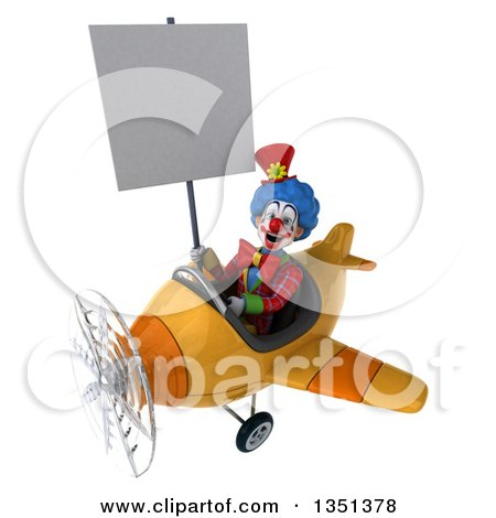 Clipart of a 3d Colorful Clown Aviator Pilot Holding a Blank Sign and Flying a Yellow Airplane to the Left - Royalty Free Illustration by Julos