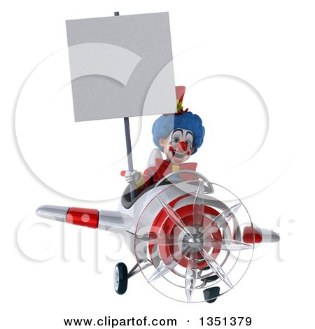 Clipart of a 3d Colorful Clown Aviator Pilot Holding a Blank Sign and Flying a White and Red Airplane - Royalty Free Illustration by Julos